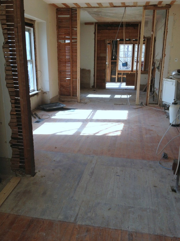 Living room towards dining and kitchen