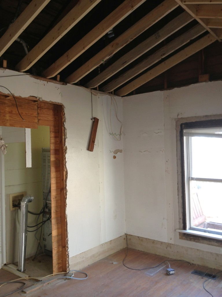 Master with closets gone and ceiling vaulted