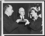 Mrs. Maybelle Kennedy being sworn in as Assistant Treasurer of the United States