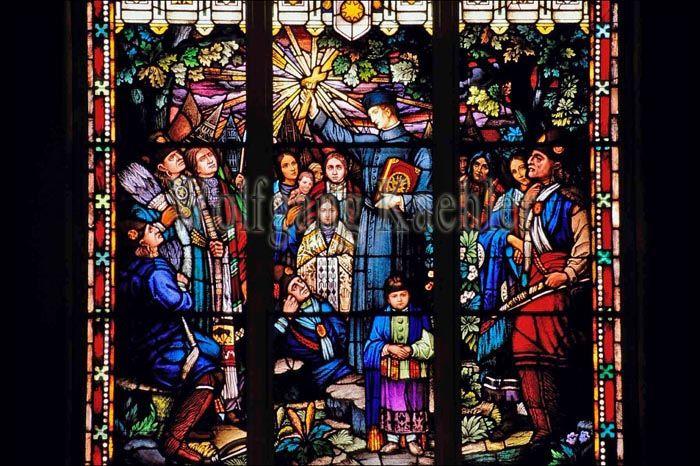 Famous stained glass window Immaculate Conception Catholic Church, Pawhuska Oklahoma
