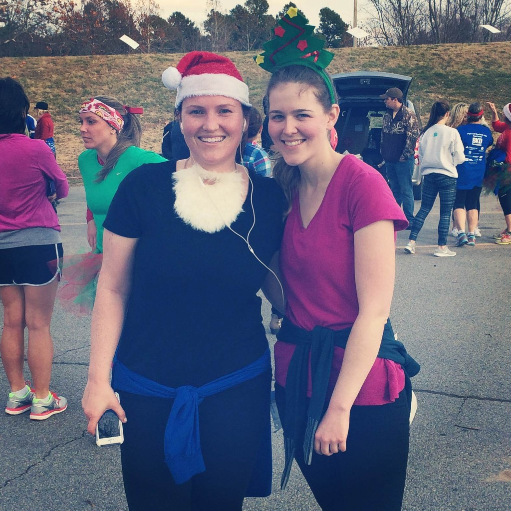 Emily and Carla after running the Jingle Bell 5K