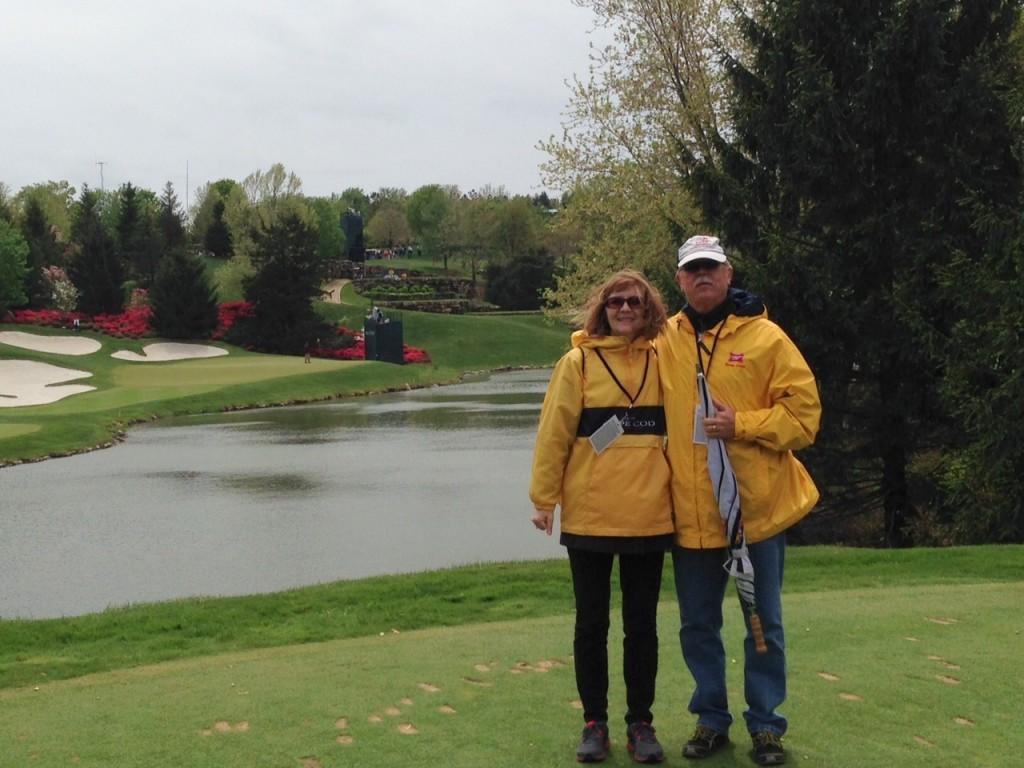 Liz and Charlie in yellow rain slickers!