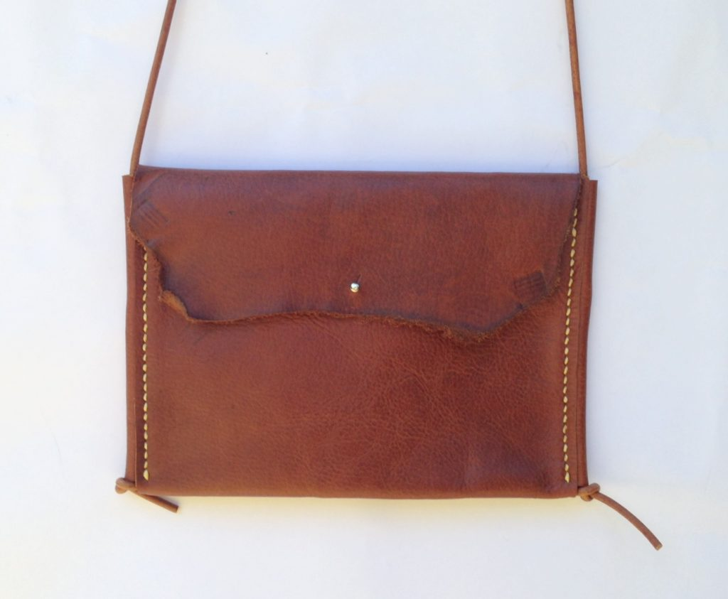 "Hand stitched brown leather ""Katie"" bag"